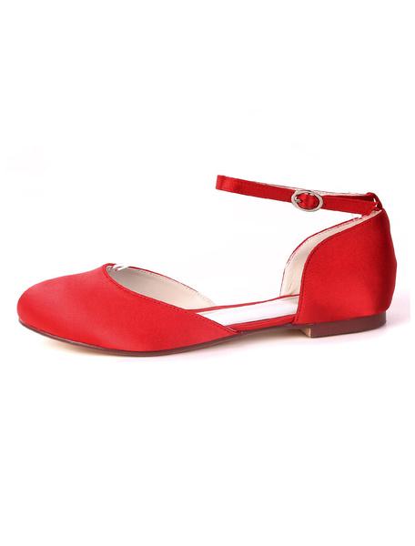 Milanoo Ivory Wedding Shoes Satin Round Toe Ankle Strap Flat Bridal Shoes Bridesmaid Shoes