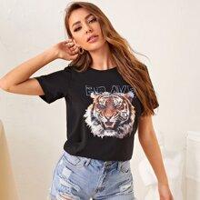 Camiseta con estampado de letra y tigre