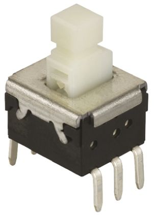 Panasonic Yellow Lever Tactile Switch, Double Pole Double Throw (DPDT) 200 mA @ 14 V dc Through Hole (2)