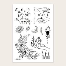 1sheet Mixed Pattern Tattoo Sticker