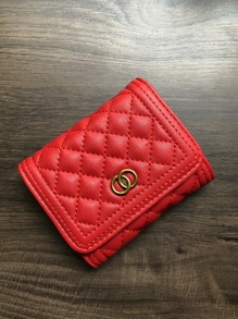 Metal Decor Quilted Fold Over Purse