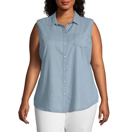 St. John's Bay-Plus Womens Sleeveless Regular Fit Button-Down Shirt, 2x , Blue