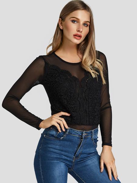 Yoins Black Mesh Lace Insert Bodysuit