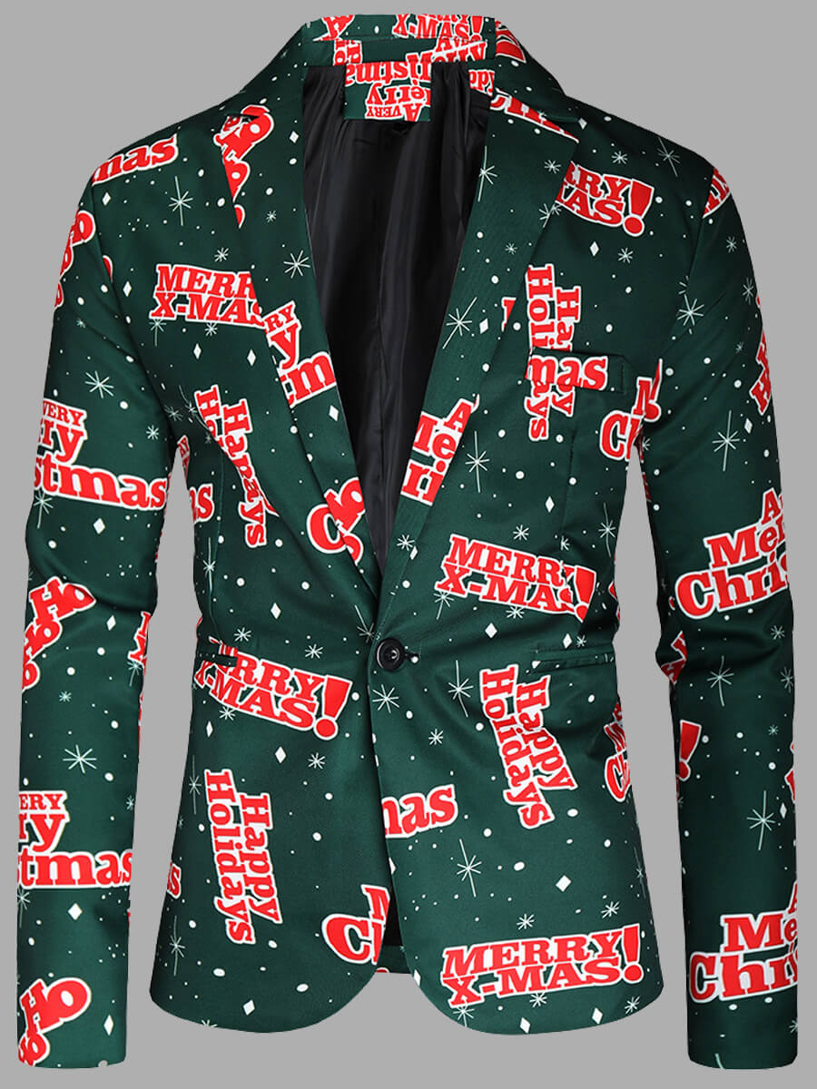 LW Lovely Trendy Turndown Collar Letter Print Green Men Blazer