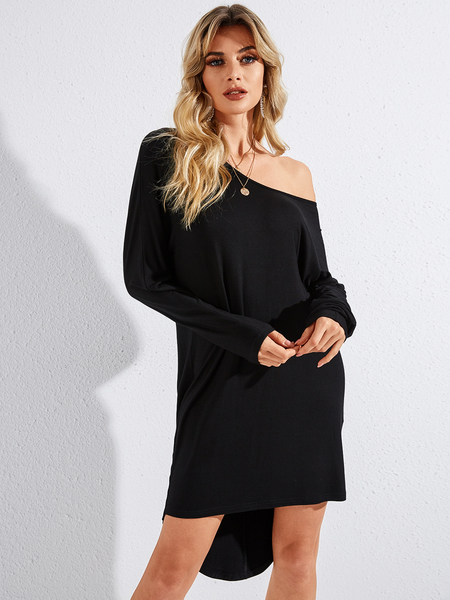 YOINS Black Irregular Hem One Shoulder Long Sleeves Dress