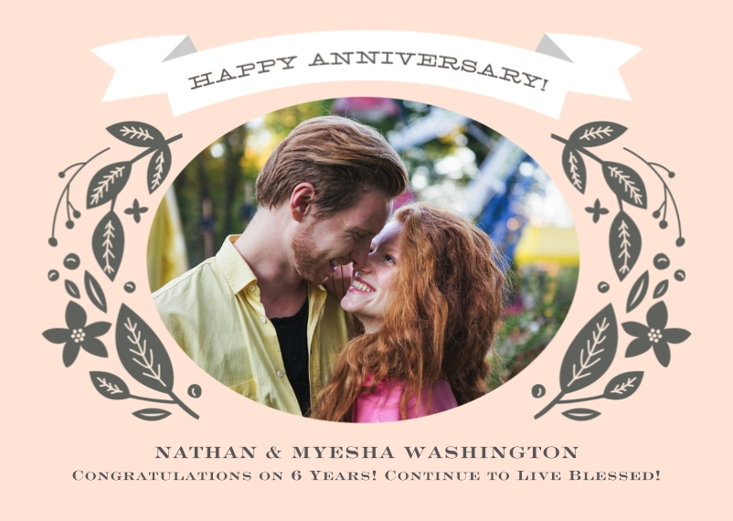 Anniversary 5x7 Folded Cards, Standard Cardstock 85lb, Card & Stationery -Anniversary Vintage Foliage
