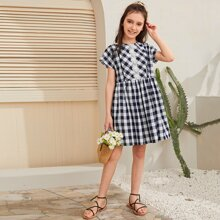 Girls Guipure Lace Detail Gingham Smock Dress