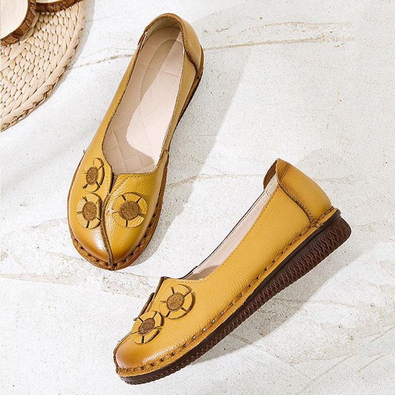 Leather Round Toe Stitching Slip On Flat Loafers