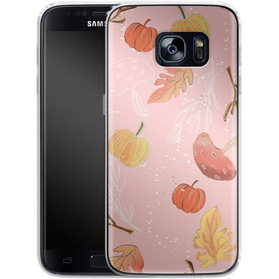 Samsung Galaxy S7 Silikon Handyhuelle - Foliage Pink Woodland von Mukta Lata Barua