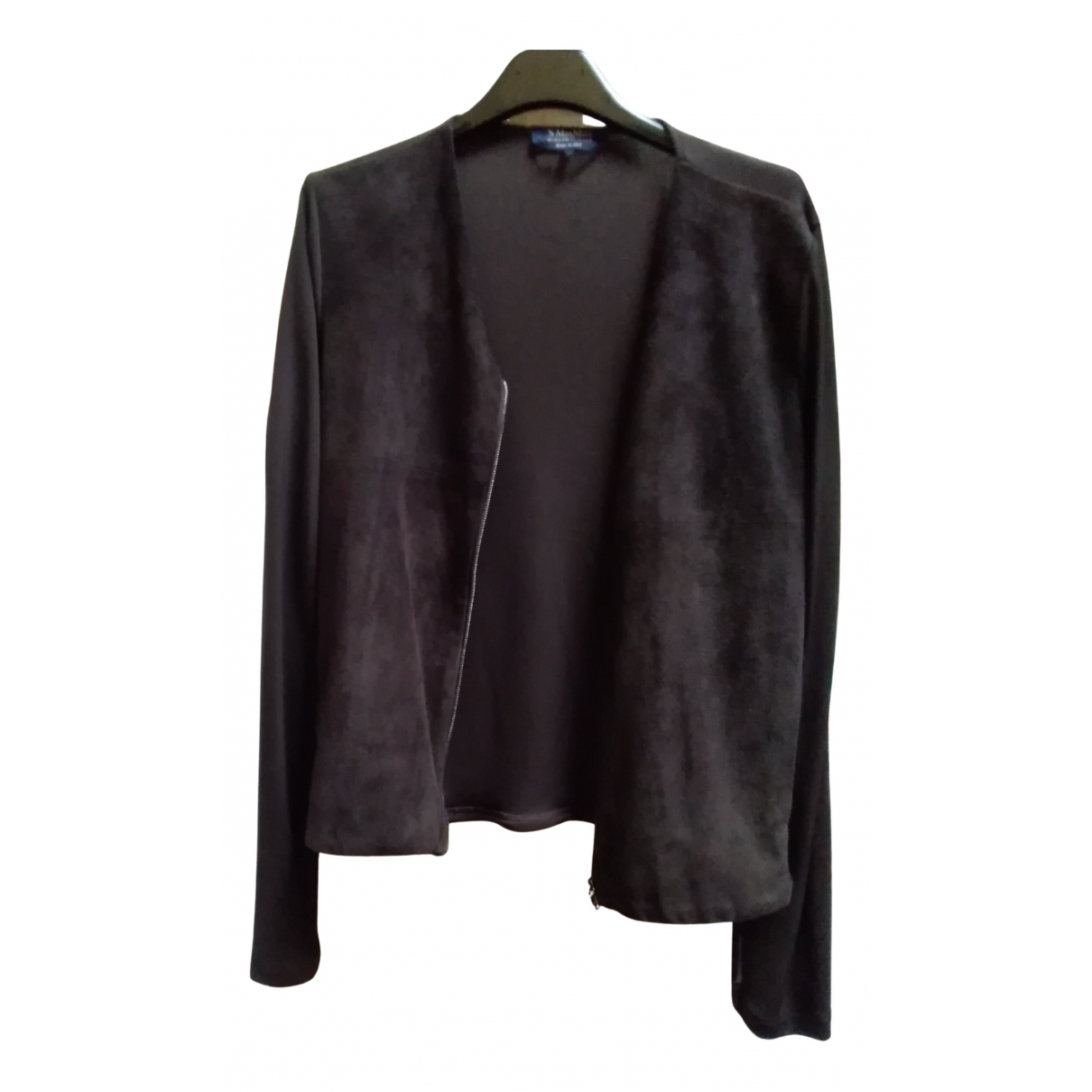 Max Mara 's N Brown Suede Leather jacket for Women 42 IT