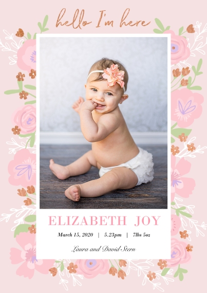Baby Girl Announcements 5x7 Cards, Standard Cardstock 85lb, Card & Stationery -Blooming Welcome