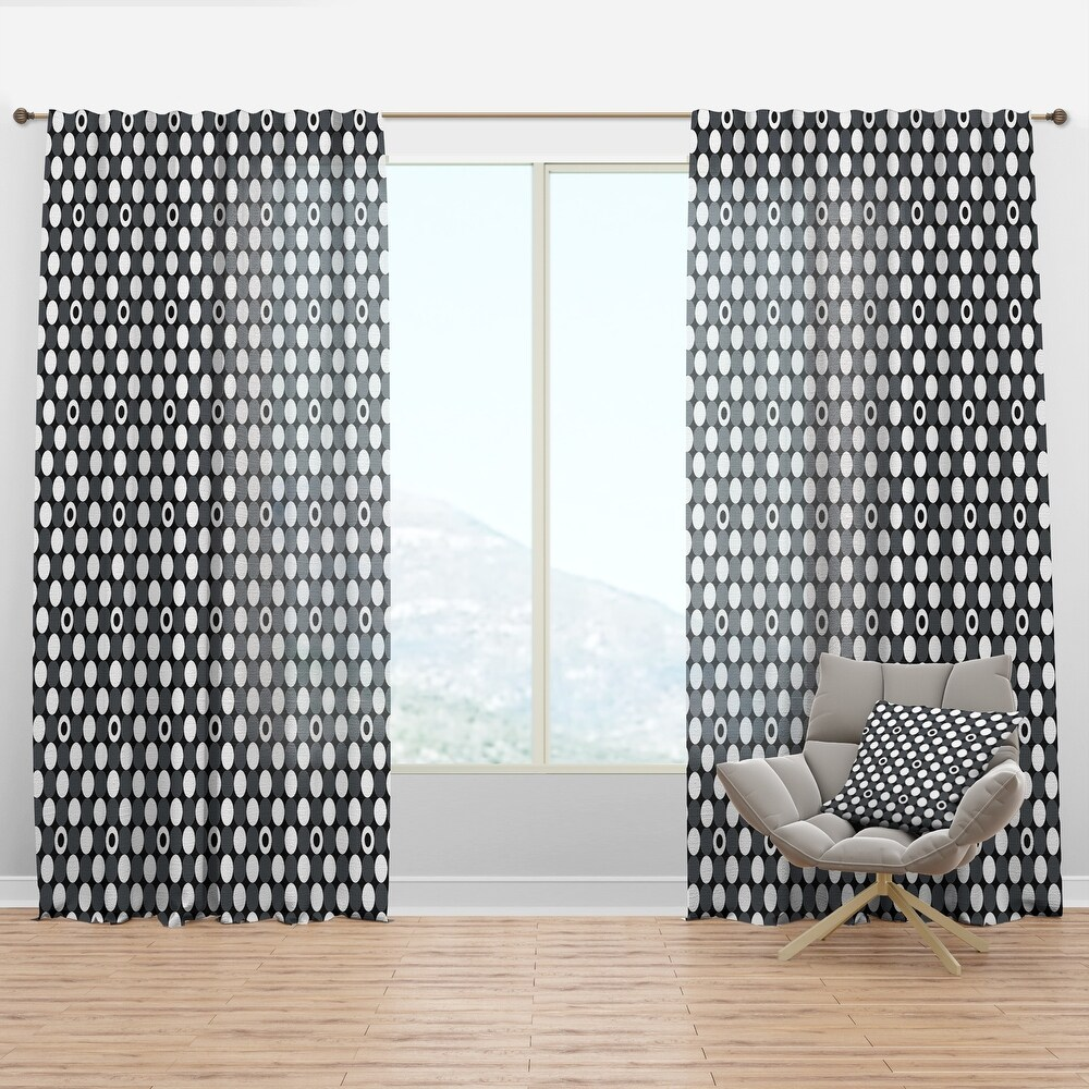 Designart 'Monochrome Geometric Pattern XIV' Mid-Century Modern Curtain Panel (50 in. wide x 90 in. high - 1 Panel)