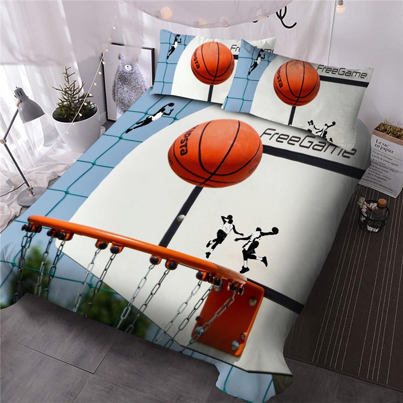 3D Basketball Sporty Cartoon Figure Bedding 3-Piece 3D Comforter Sets with 2 Pillow Shams Machine Washable Microfiber Comforter Colorfast Skin-friendl