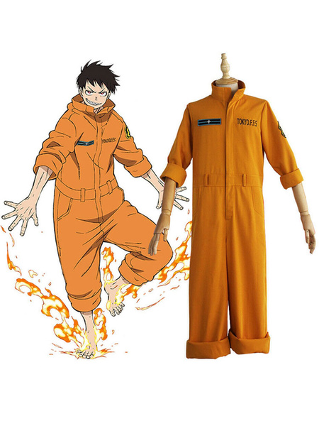 Milanoo Fire Force Cosplay Arthur Boyle Polyester Jumpsuit Cosplay Costume