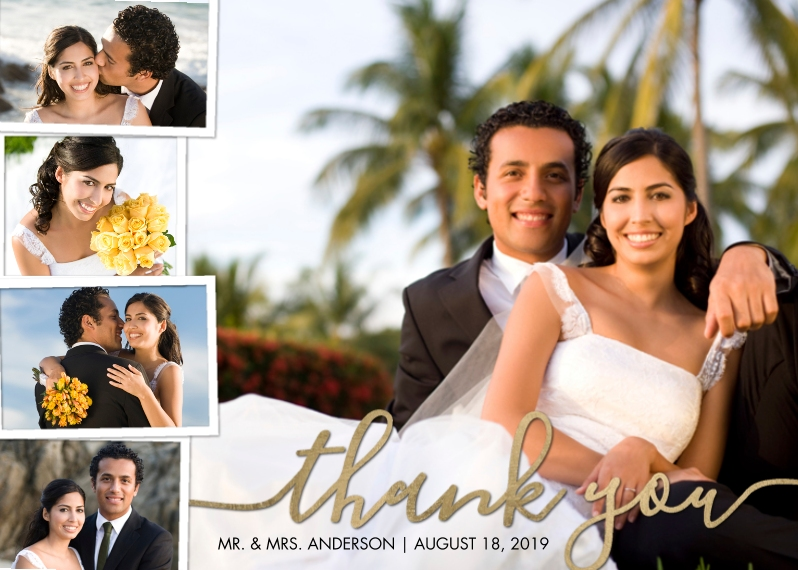 Wedding Thank You Mail-for-Me Premium 5x7 Folded Card , Card & Stationery -Thank You Collage Folded