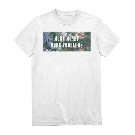 More Monet Mens Crew Neck Short Sleeve Humor Graphic T-Shirt, Large , White