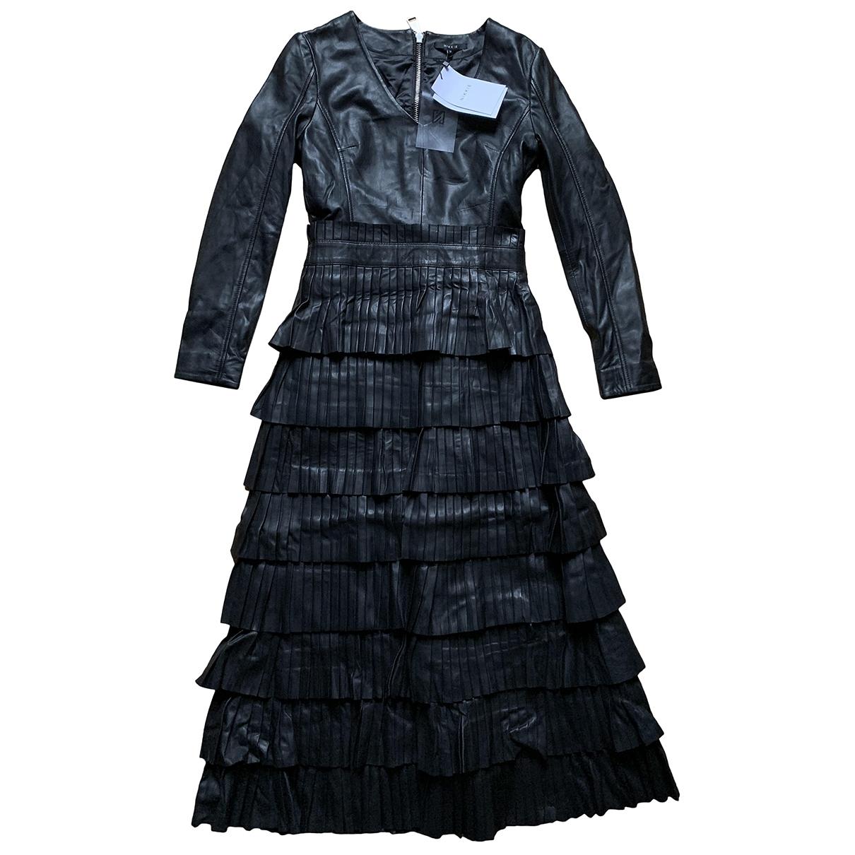 - Robe   pour femme en cuir - noir