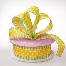Polyester Sheer Yellow-Lime Polka Stripe Ribbon - 1-1/2 X 25yd - Polyethyleneester - Embellishments & Trims by Paper Mart