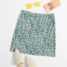 Rib-knit Daisy Floral Skirt