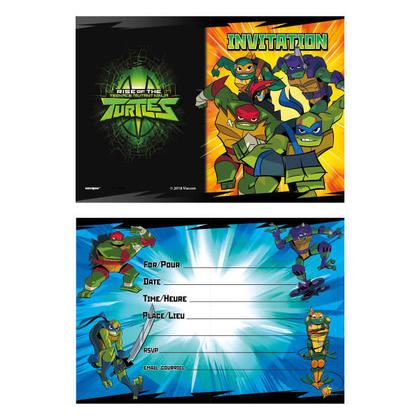 Ninja Turtles 8 Invitations Pour la fête d'anniversaire