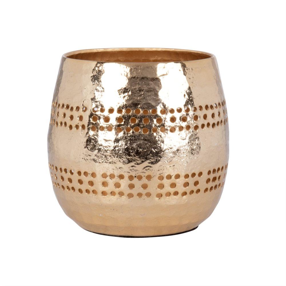 Kerzenhalter, rund, aus ziseliertem goldenem Metall