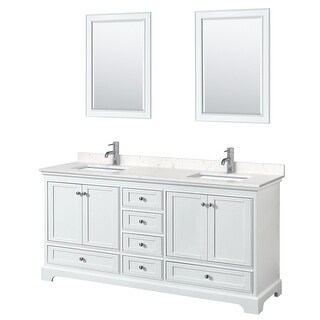 Deborah 72 Inch Double Vanity, Cultured Marble Top, 24 Inch Mirrors (White, Light-Vein Carrara Cultured Marble)