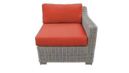 TKC038b-LAS-TANGERINE Left Arm Chair - Beige and Tangerine