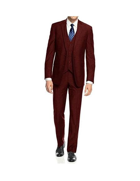 Mens 3Piece Burgundy Single Breasted Slim Fit 2Button Vested Suit Set