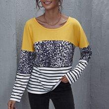 T-Shirt mit sehr tief angesetzter Schulterpartie, Farbblock, Leopard & Streifen Muster