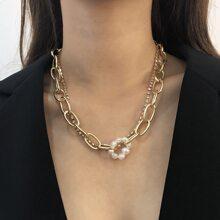 Collar a capas con perla artificial y diamante de imitacion