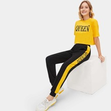 Letter Graphic Crop Top & Pants Set