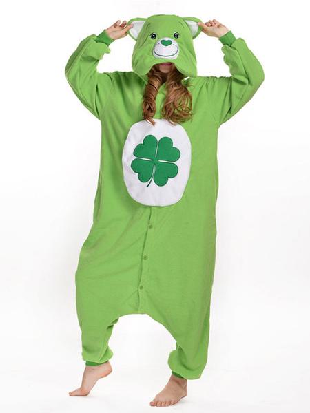 Milanoo Disfraz Halloween Traje de la mascota sintetico de oso verde  Halloween