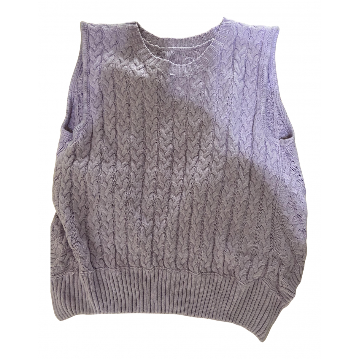 Non Signé / Unsigned Oversize Purple Cotton Knitwear for Women One Size FR