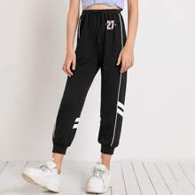 Girls Contrast Binding Letter and Striped Sweatpants