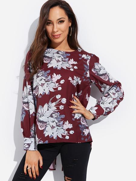 Yoins Burgundy Zip Back Random Floral Print Round Neck Long Sleeves Blouse
