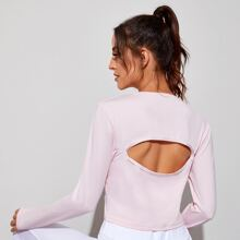 Cut Out Back Thumb Holes Sports Tee