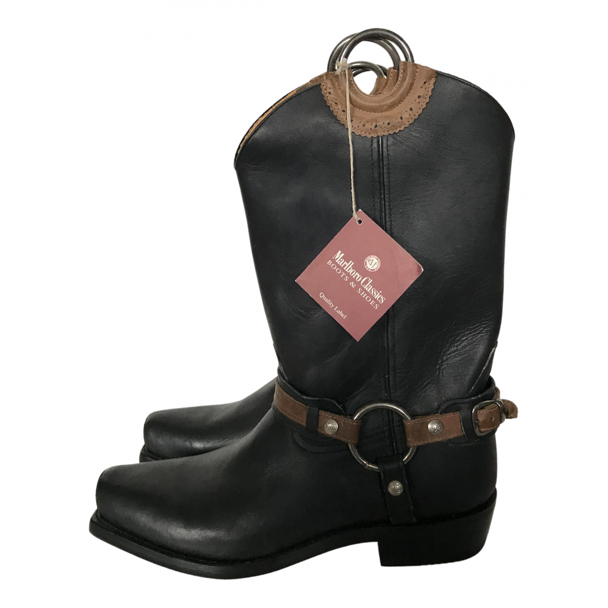 Non Signé / Unsigned \N Black Leather Boots for Men 45 EU