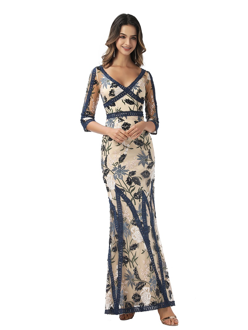 Ericdress Mermaid Lace Ankle-Length 3/4 Length Sleeves Formal Dress 2020