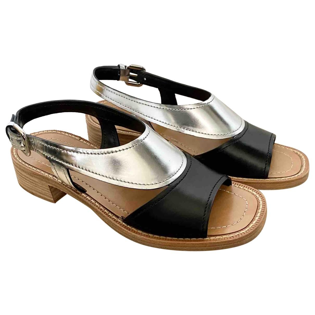 Prada \N Silver Leather Sandals for Women 37 EU