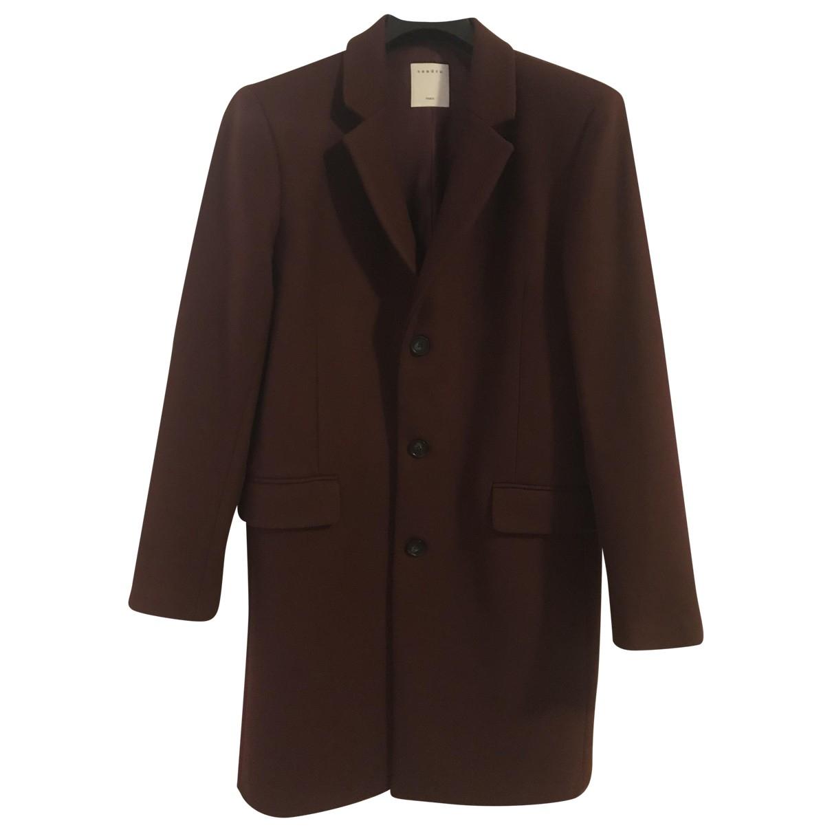 Sandro - Manteau   pour homme en laine - bordeaux
