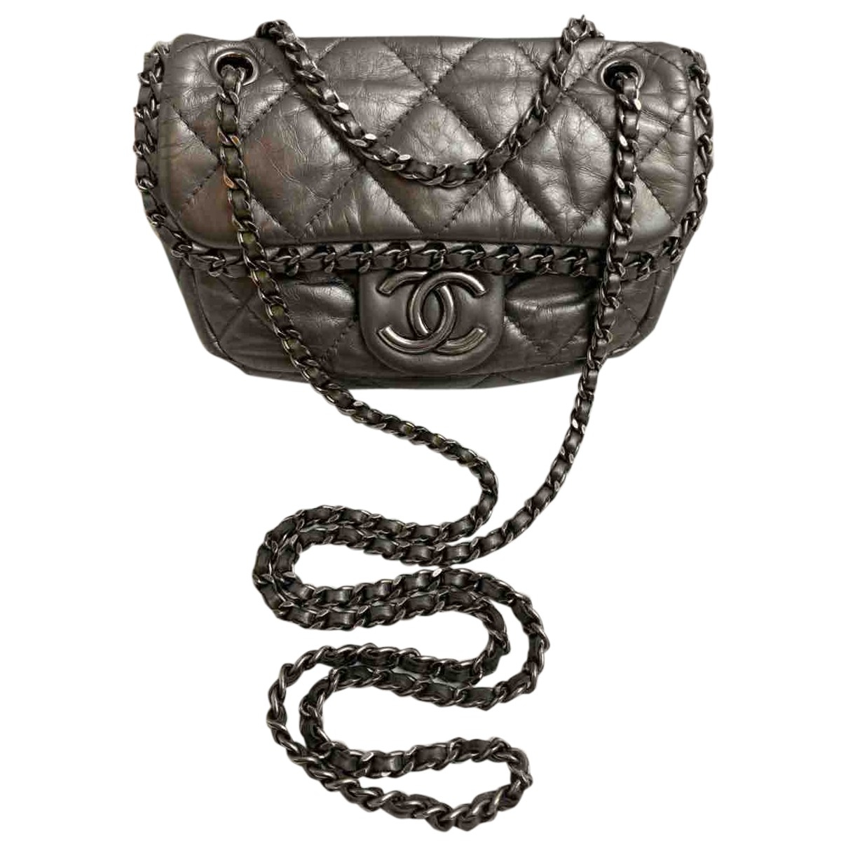 Chanel - Sac a main Timeless/Classique pour femme en cuir - argente