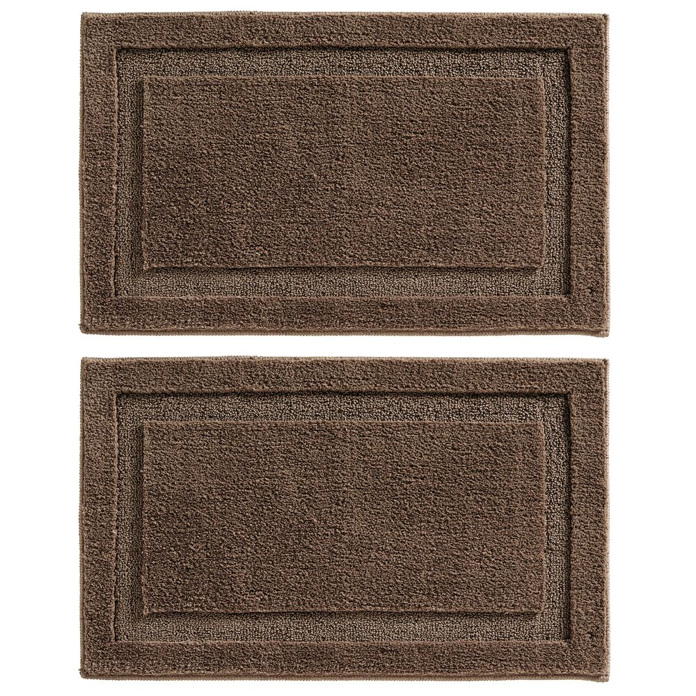 Microfiber Bath Mat / Non-Slip Bathroom Rug in Dark Brown, 34