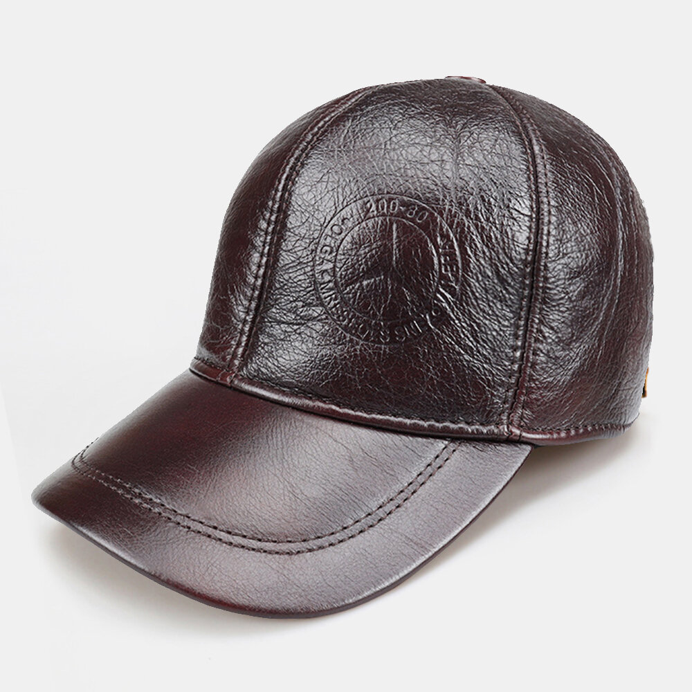 Men's Leather Hat First Layer Cowhide Casual Dome Duck Tongue Earmuffs Adjustable Big Brim Baseball Cap
