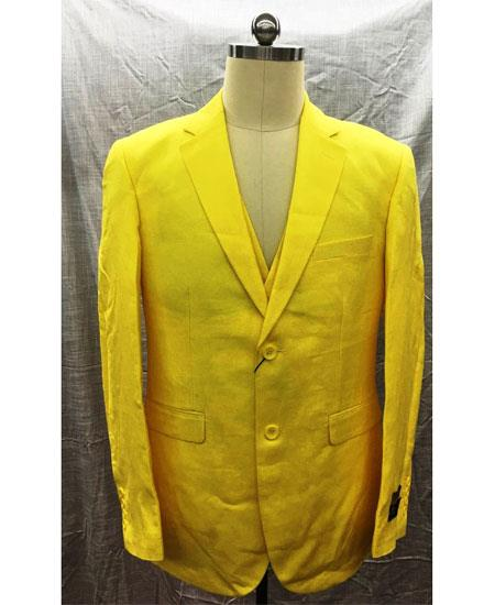 Men's Single Breasted Linen Yellow Vest 2 Button Suit