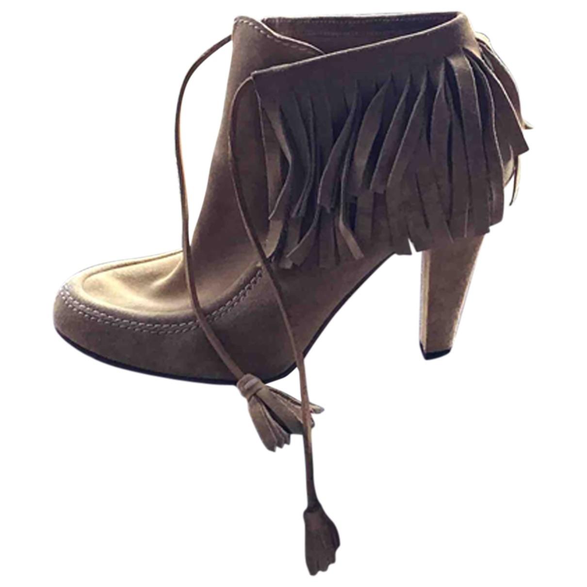 Gucci - Boots   pour femme en suede - beige