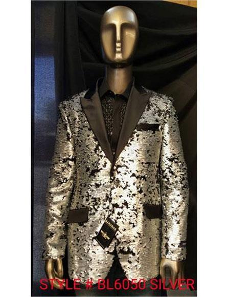 Mens Fashion Sequin Silver Paisley Blazer Sport coat Tuxedo Jacket