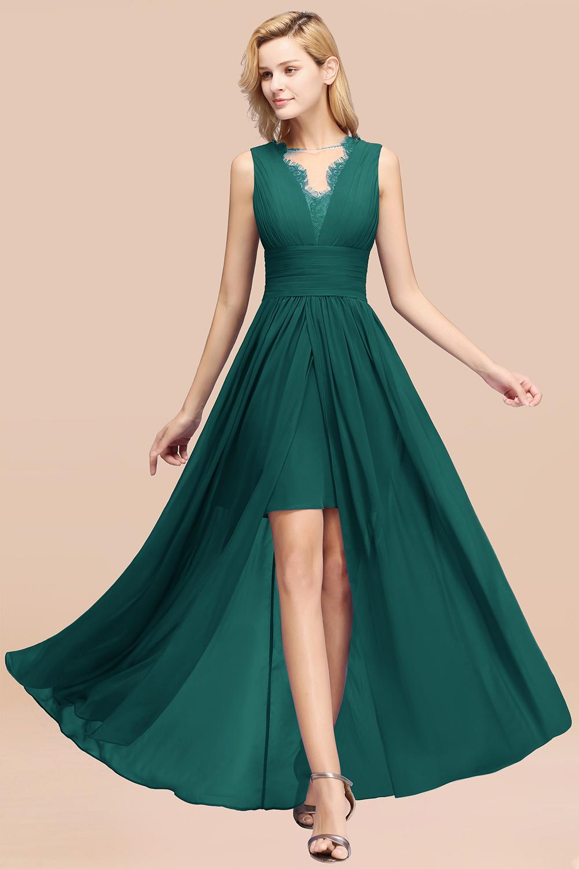BMbridal Elegant Chiffon Lace Jewel Sleeveless Bridesmaid Dress with Ruffle
