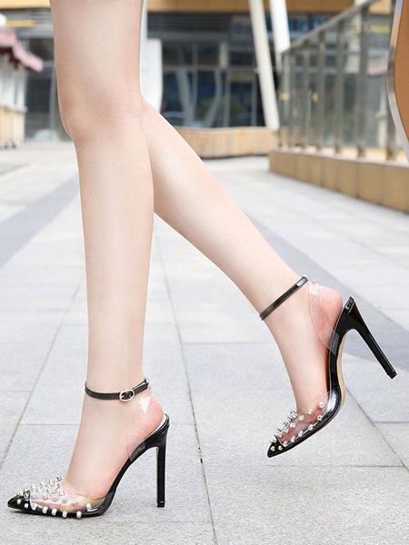 Milanoo Sandalias de tacon Sandalias Remaches negros Tacon de aguja Punta en punta Zapatos de fiesta con correa en el tobillo