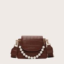 Bolso cartera de cocodrilo con perla artificial