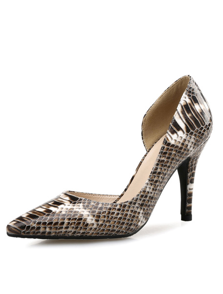 Milanoo Pointed High Heels Snake Print PU Leather Women's Slip-On Pumps Shoes